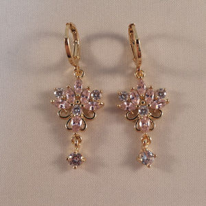 18K Yellow Gold Lotus Flower Topaz Zircon Earrings